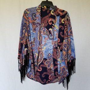 Boho print fringe kimono  size medium